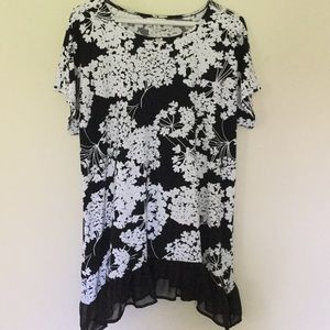 Cato black with white floral print top